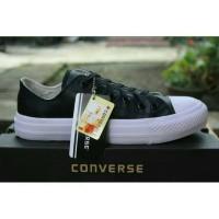 Jual sepatu converse kulit sintetis black unisex Fashion Pria