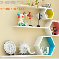 Rak dinding full set hexagon 3pcs + rak slim 3pcs (PROMO HARI INI)