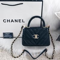 95153ecc27f5 Chane*l Coco Handle Flap Quilted Chevron Mini Bag