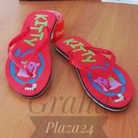 Sandal Jepit / Sandal Spon Hello Kitty Merah