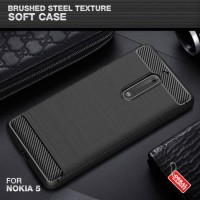 Softcase TPU Brushed Steel Black Carbon Cover Case Casing HP Nokia 5