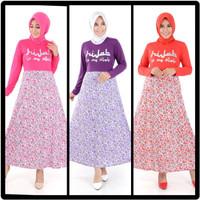 NOSH Long Dress Gamis Maxi Print Hijab Is My Style Hijab