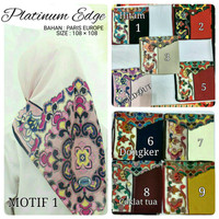 Jilbab Segiempat Paris Edge Platinum Motif 1 by Umama S Limited