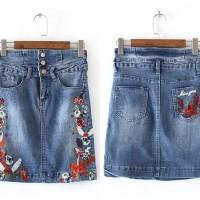 Jual Rok Span Mini Skirt Jeans Denim Bordir Bunga Baju Wanita Korea Import Murah