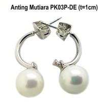 PK03P-DE Anting Mutiara Perhiasan Lapis Emas Putih Wanita Cantik Murah