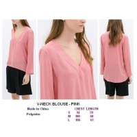 V-NECK BLOUSE - PINK. Made in China - FACTORY OUTLET BRANDED