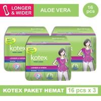 3 PACK KOTEX FRESH LINER LONGER & WIDER ALOE VERA ISI 16