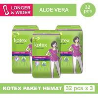 3 PACK KOTEX FRESH LINER LONGER & WIDER ALOE VERA ISI 32