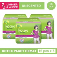 3 PACK KOTEX LINER LONGER & WIDER UNSCENTED ISI 16