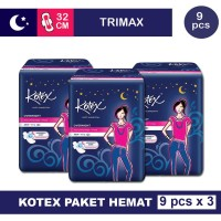 3 PACK KOTEX OVERNIGHT TRIMAX 32 CM ISI 9