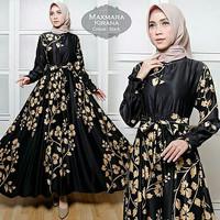 TK1 Maxmara Kirana Black Bahan gamis maxmara motif asli