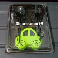mika bento 4 sekat sendok + garpu/box bento/mika lunch/tray bento