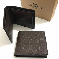 Dompet coach original - Coach billfold coin wallet embossed mahogany f9f91ee403