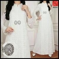 Baju Pesta Muslim Gamis Putih Mewah Elegan - Brokat dan Silk Sutera