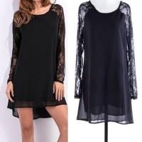 IMPORT Lace Chiffon Black Dress SIfon Brukat Brokat Pesta Party Pant T