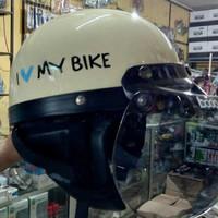 Helm Retro Bogo Chip Chips Cream  I love my bike Vespa + Kaca