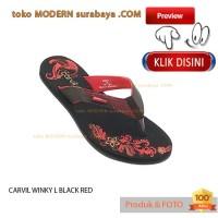 NO 36 CARVIL WINKY L BLACK RED sandal wanita jepit flat casual