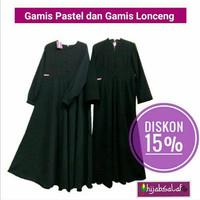 Gamis Wolfis Hitam Hijab Salaf (Cuci Gudang)