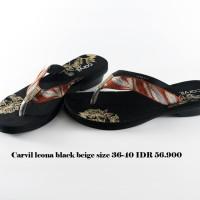 carvil leona sandal jepit wanita hitam beige