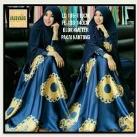 Baju Syar'i Wanita Motif Bunga Cantik Bahan Monalisa - Biru