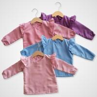 KicauKecil - Flora Long Blouse Anak 1-8T Pink,Biru,Ungu,Dusty Pink