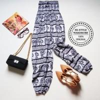 Celana Panjang Wanita Korea Style Casual Santai Liburan Motif Unik