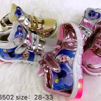 Sepatu Fashion Kets Sneaker Frozen Led 6502 Anak Cewek Sepatu Casual