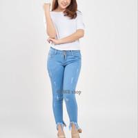 celana jeans wanita / ripped jeans laser punny jeans cewek 7/8