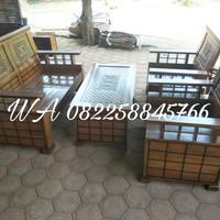 Set Meja Kursi Ruang Tamu 2111+1 Meja Kayu Jati Murah Ukir Free Ongkir