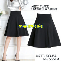 rok midi umbrella flare skirt hitam black