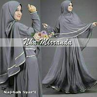Najibah Syari (Variasi 5 warna) + Dapat Jilbab / Dress GAMIS - Putih, M