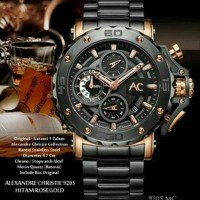 PROMO Jam Tangan ALEXANDRE CHRISTIE 9205 MC BLACK ROSE GOLD