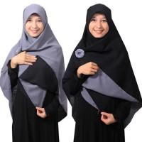 Syari Jilbab Syari Segi Empat Bolak Balik Hitam-Abu Berkualitas