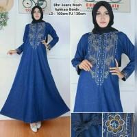 Jual sb#alda maxi*baju gamis jeans aplikasi bordir*maxi jumbo*bajumuslim Murah