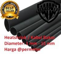 Heatshrink Selongsong Kabel Bakar 1 - 15 mm @meter (Hitam)
