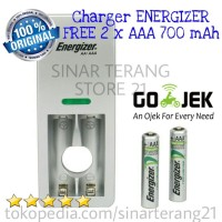 CHARGER + Baterai Charge AAA 700 mAh ENERGIZER Batre Isi Ulang CH2PC