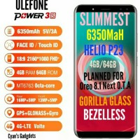 HP 4G ULEFONE POWER 3S BeZelless 4GB/64GB 6350 MaH Rival iphone x s9