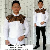 Baju Koko Kombinasi Batik Atasan Pria Lengan Panjang