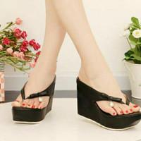 sandal jepit wedges hitam terbaru f07