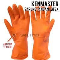 Kenmaster Sarung Tangan Latex Orange Flock Lining Cuci Piring Original