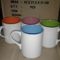 Mug Two Tone Warna Dalam Coating Ori Murah
