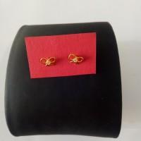 Anting Emas asli model hati cristal Kadar 700 Emas 22 karat makassar