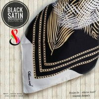 Hijab - Jilbab Segi Empat - Black Satin - Design 02