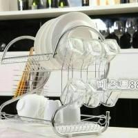 Rak Piring 2 Susun Portable Stainless Tempat Gelas & Peralatan Dapur