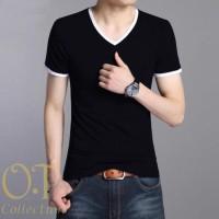 [vabulo black OT] kaos polos pria cotton spandex hitam