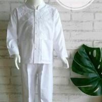 Top Size 1 Tahun Baju Setelan Koko Putih Anak Bayi Bahan Katun