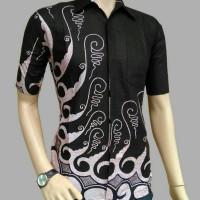 Hem Batik Kemeja Kantor Pria Murah Hitam Putih HB057