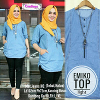 ORI emiko top jeans washed super baju wanita simple basic busui hits