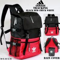 tas ransel adidas tracking black red white free raincover . bola