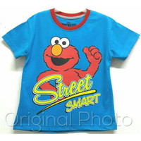 Baju kaos karakter anak laki-laki elmo biru 1-6